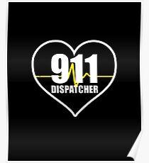 911 Dispatcher Heart Poster