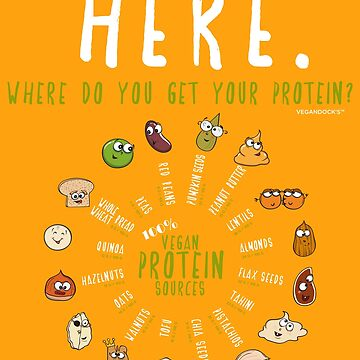 Funny Vegan Protein Design (Where do you get your protein?) by VEGANDOCK