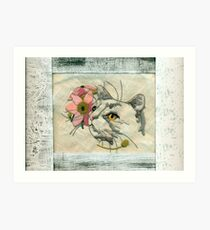 Needlepoint Cat Scannogram  Art Print