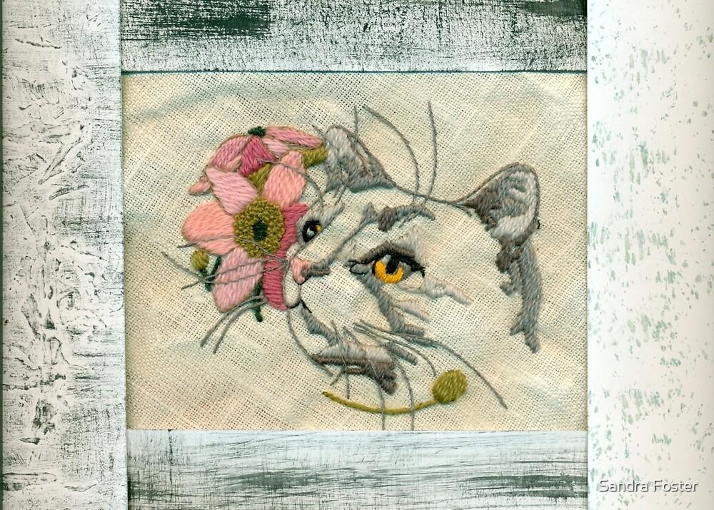 Needlepoint Cat Scannogram  by Sandra Foster