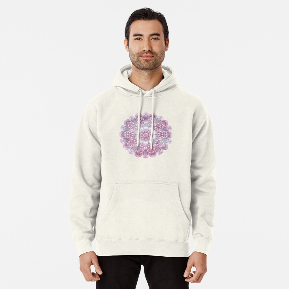Dreams Mandala in Pink, Grey, and White Pullover Hoodie