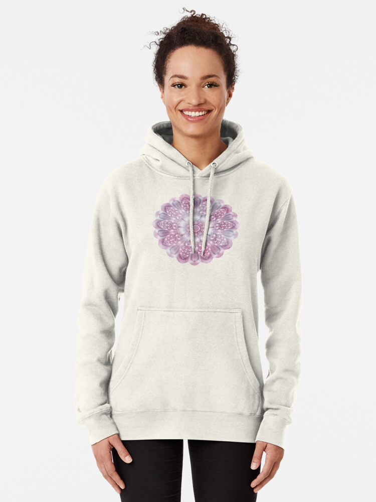 Alternate view of Dreams Mandala in Pink, Grey, and White Pullover Hoodie
