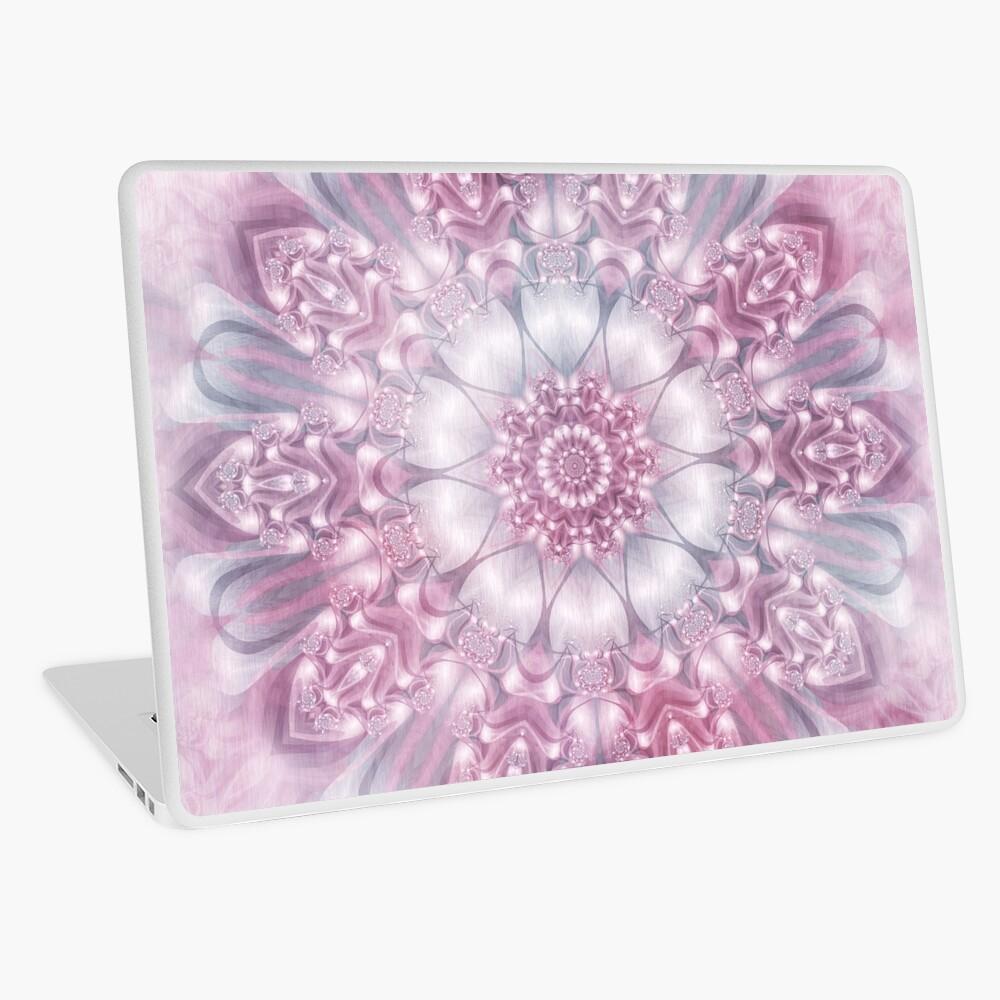 Dreams Mandala in Pink, Grey, and White Laptop Skin
