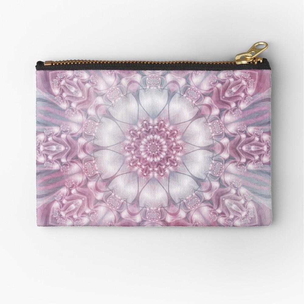 Dreams Mandala in Pink, Grey, and White Zipper Pouch