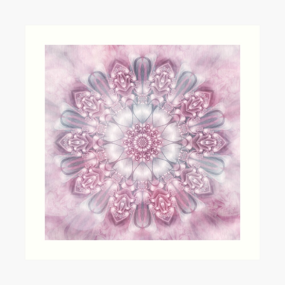 Dreams Mandala in Pink, Grey, and White Art Print