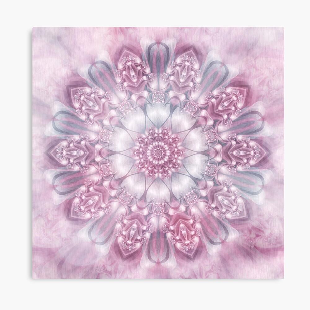 Dreams Mandala in Pink, Grey, and White Canvas Print