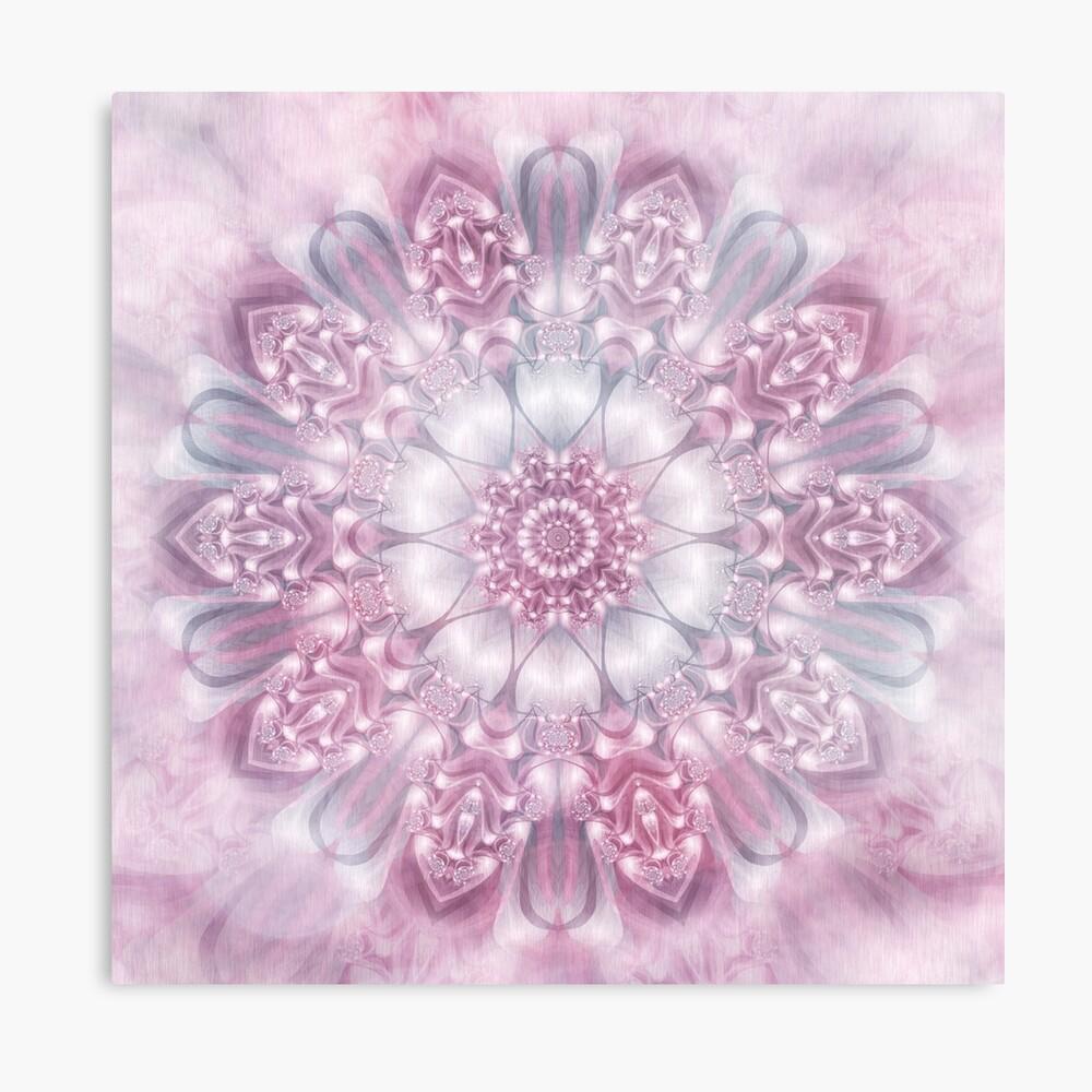 Dreams Mandala in Pink, Grey, and White Metal Print