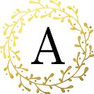 Monogramm-Buchstabe A | Personalisiert | Schwarz und Gold Design von PraiseQuotes