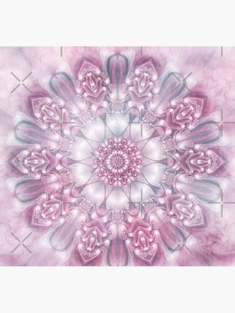 Dreams Mandala in Pink, Grey, and White by kellydietrich