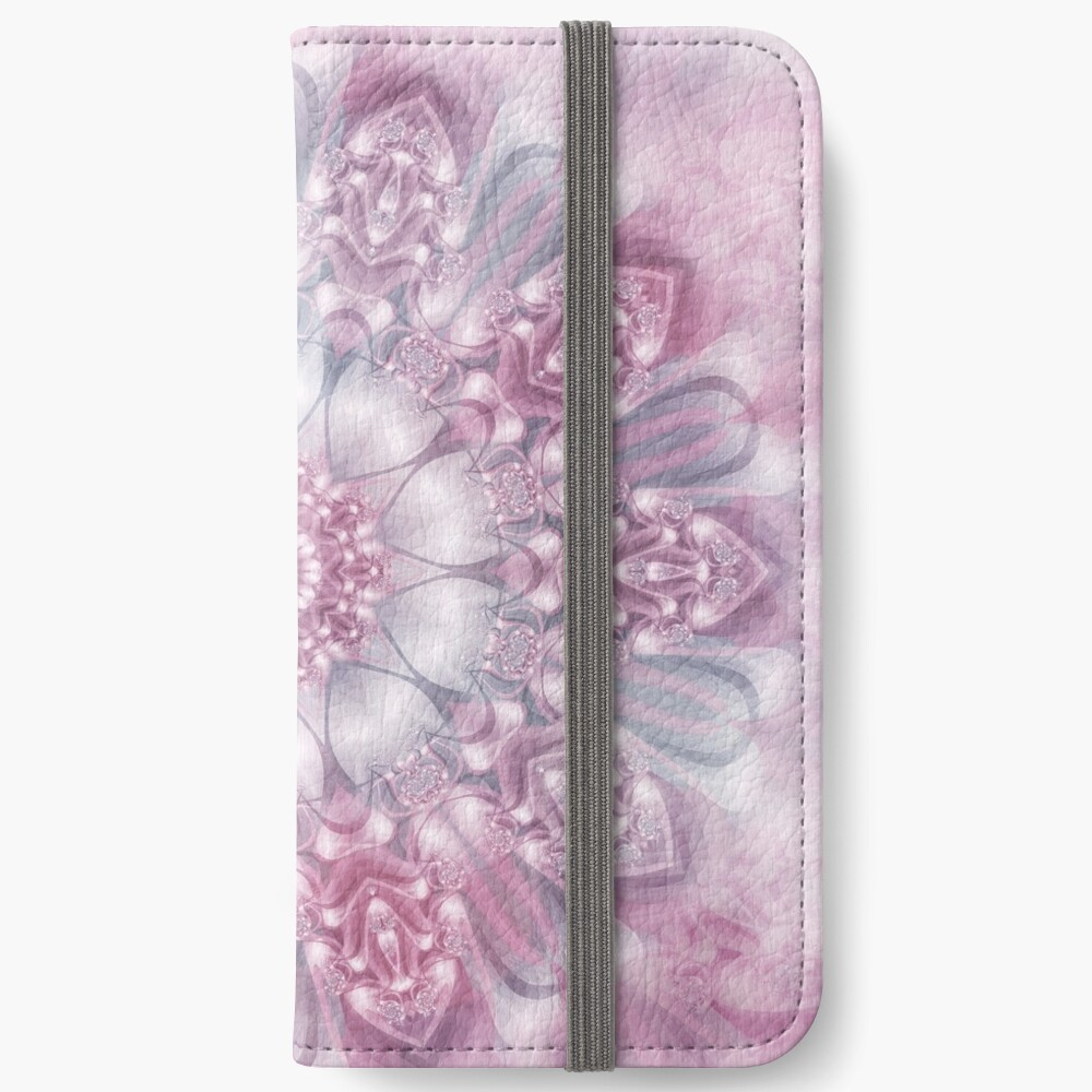 Dreams Mandala in Pink, Grey, and White iPhone Wallet