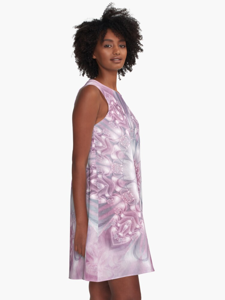 Alternate view of Dreams Mandala in Pink, Grey, and White A-Line Dress