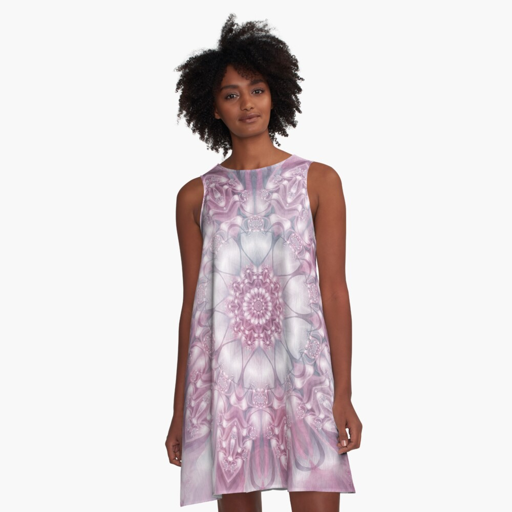 Dreams Mandala in Pink, Grey, and White A-Line Dress