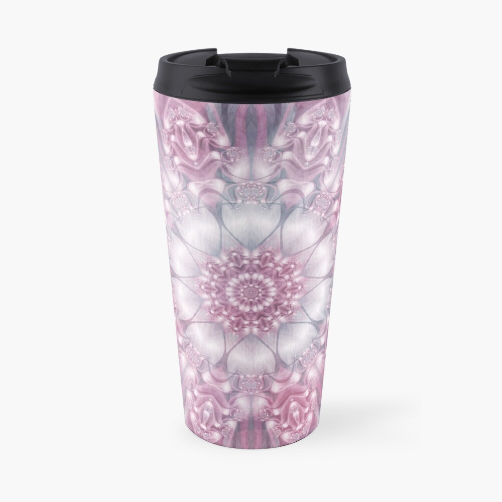 Dreams Mandala in Pink, Grey, and White Travel Mug