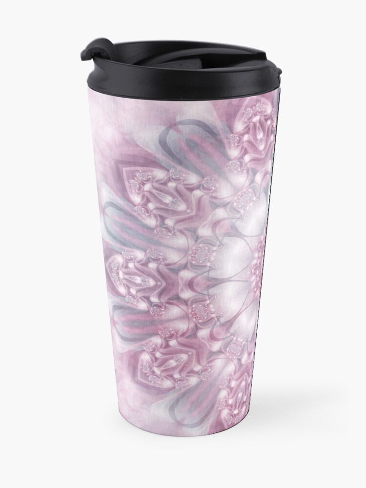 Alternate view of Dreams Mandala in Pink, Grey, and White Travel Mug
