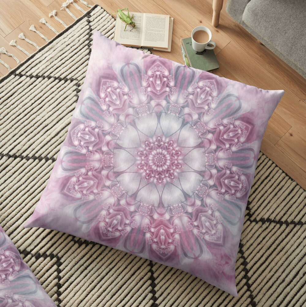 Dreams Mandala in Pink, Grey, and White Floor Pillow
