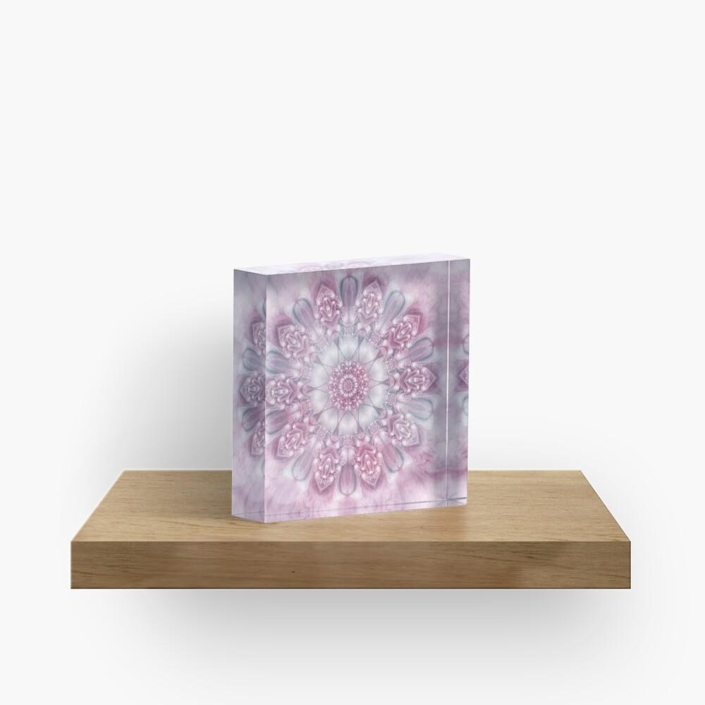 Dreams Mandala in Pink, Grey, and White Acrylic Block