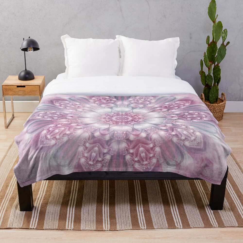 Dreams Mandala in Pink, Grey, and White Throw Blanket
