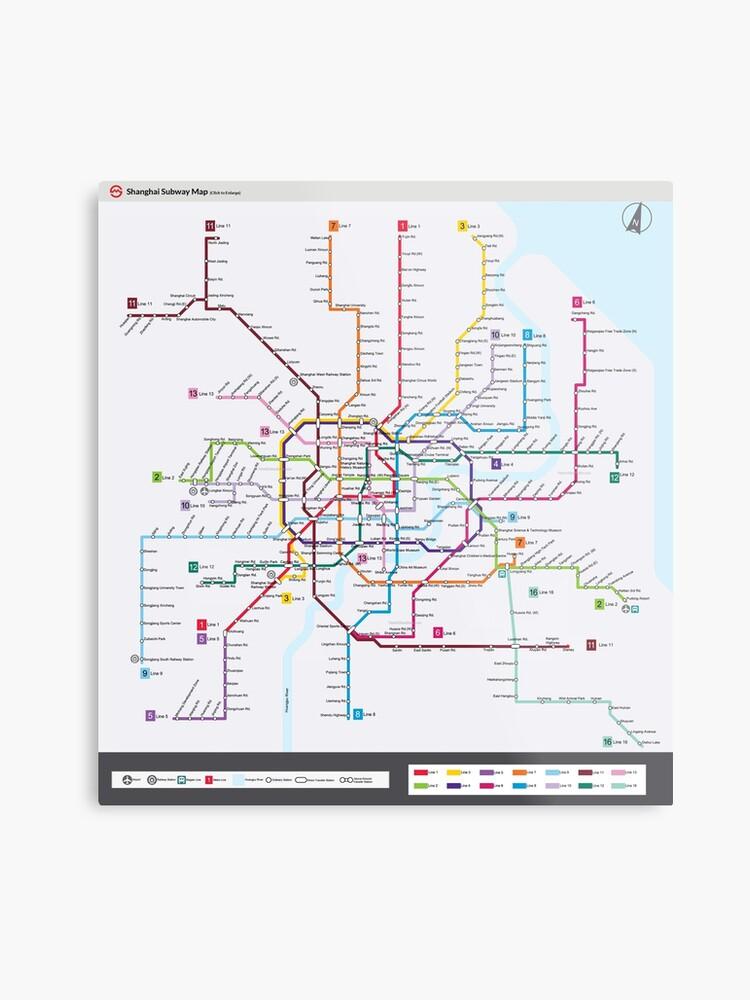 Subway Map Of Shanghai.Shanghai Subway Map Metal Print