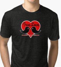 True Love with Birds, Valentines day Hearts T-Shirt Romantic  Tri-blend T-Shirt