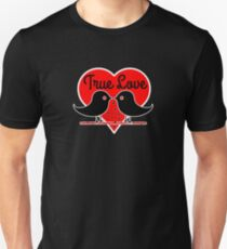 True Love with Birds, Valentines day Hearts T-Shirt Romantic  T-Shirt