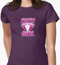 RICH GIRL with pink diamond Womens Fitted T-Shirt