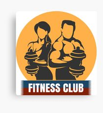 Man and Woman Fitness Club logo Design Canvas Print