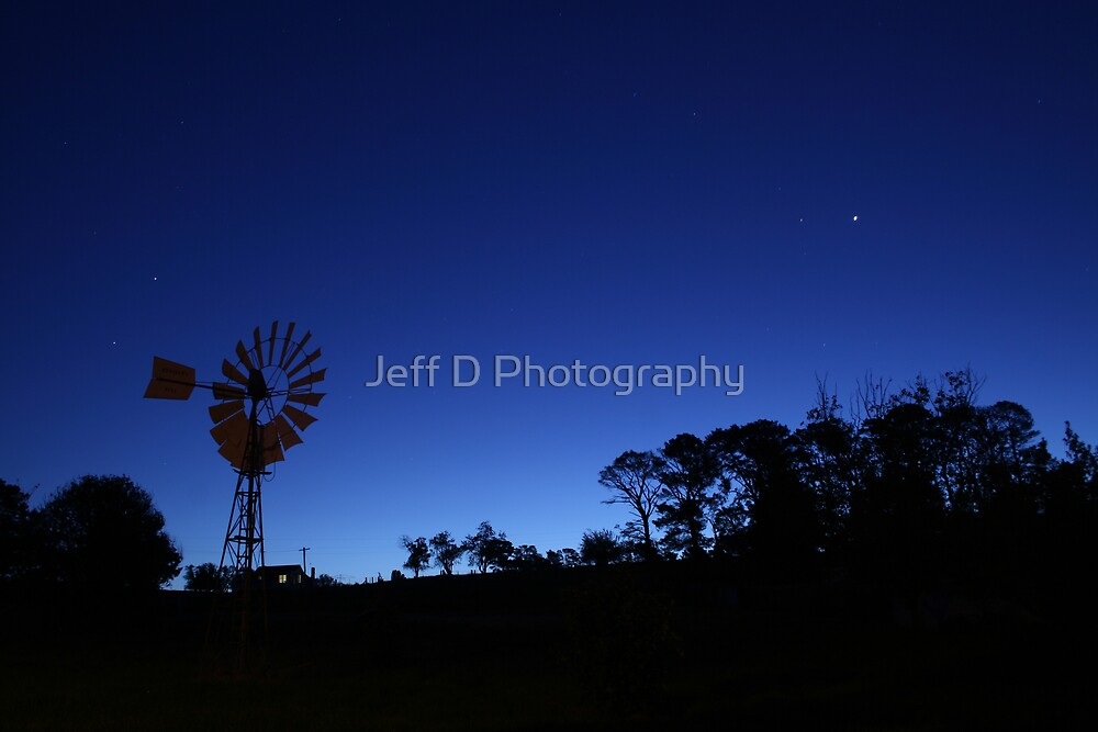 Windmill after Dark by Jeff D Photography