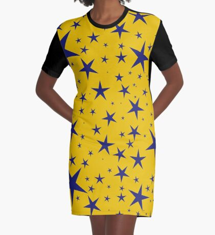 NDVH Stars (blue on gold) Graphic T-Shirt Dress