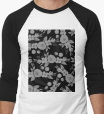 Black white modern hand painted watercolor floral T-Shirt
