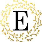 Monogramm-Buchstabe E | Personalisiert | Schwarz und Gold Design von PraiseQuotes