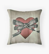 Bow and heart Throw Pillow