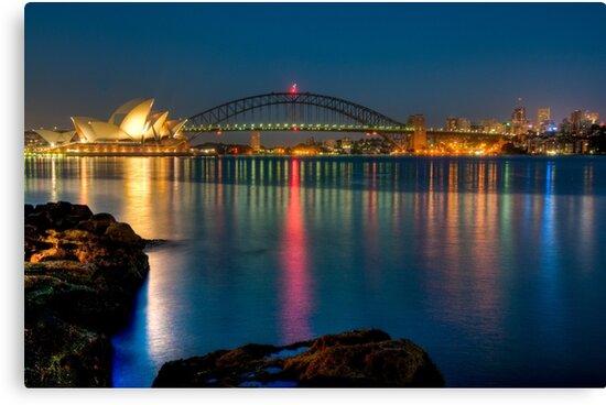 Sydney Harbour before sunrise by Erik Schlogl