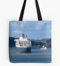 The Queen Mary 2 and the R. Tucker Thompson.........! Tote Bag