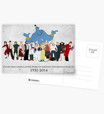 Minimalist Inspired Robin Williams Character Tribute Postcards