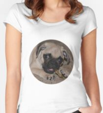 Ziggy The Pug - Yummy! Women's Fitted Scoop T-Shirt