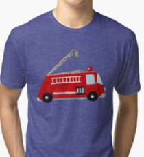 Unique red firetruck design Tri-blend T-Shirt