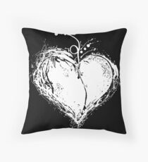 White Heart Throw Pillow