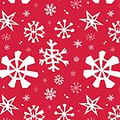 Red and white snowflake pattern by Elizabeth Levesque