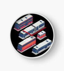 Isometric City Transportation Bus Set Clock