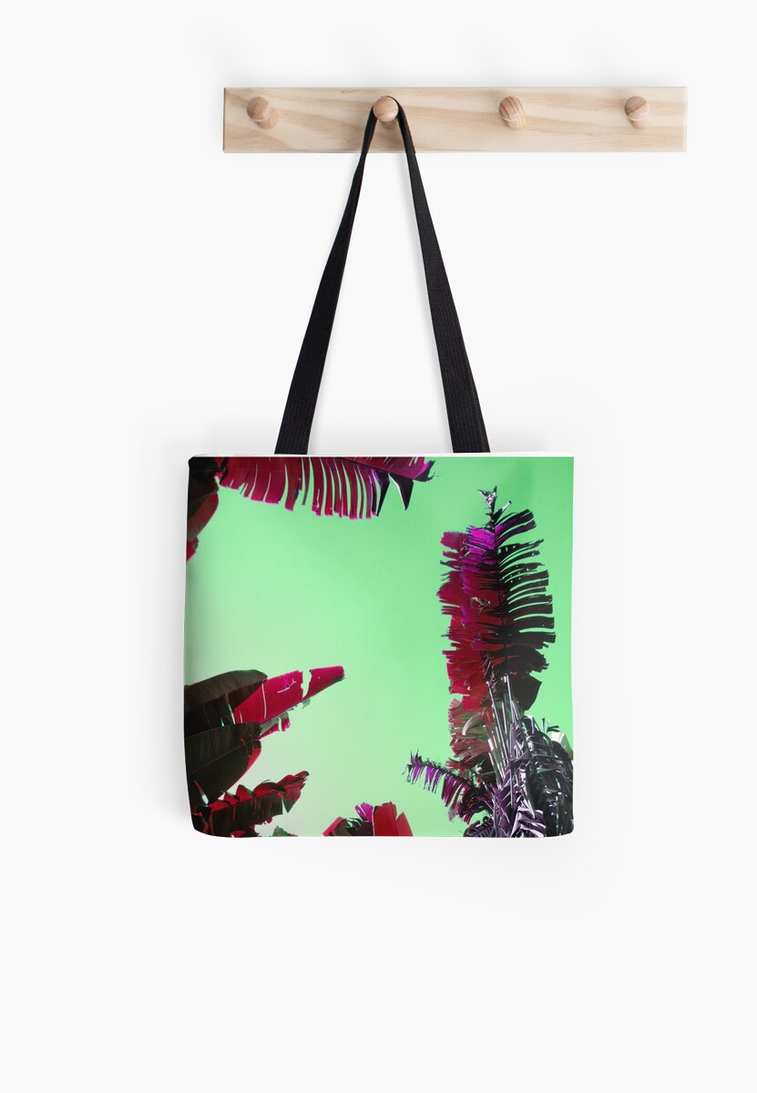 Tropical Palm Leaves in Turquoise and Red by LoraMaze