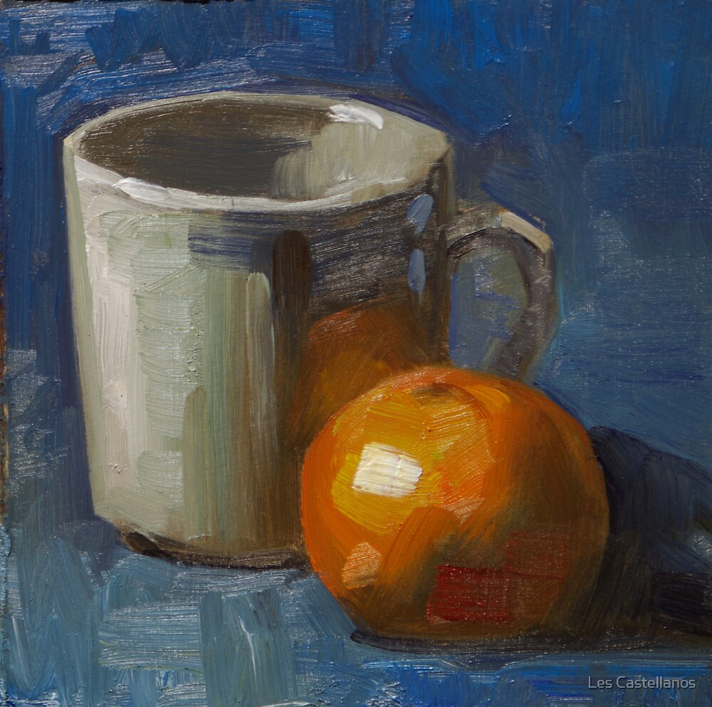 New Mug and Tangerine by Les Castellanos