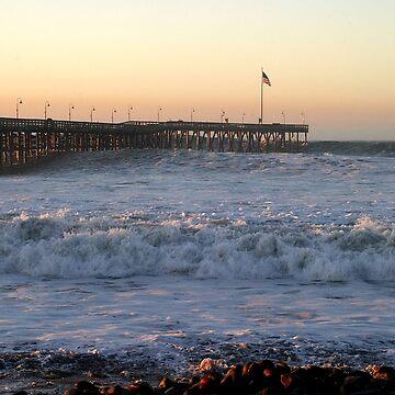 Ventura Ocean Wave Storm Pier by hlehnerer