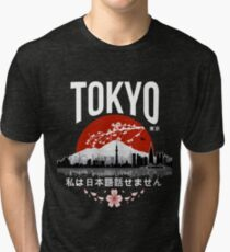 Tokyo - 'I don't speak Japanese': White Version Tri-blend T-Shirt