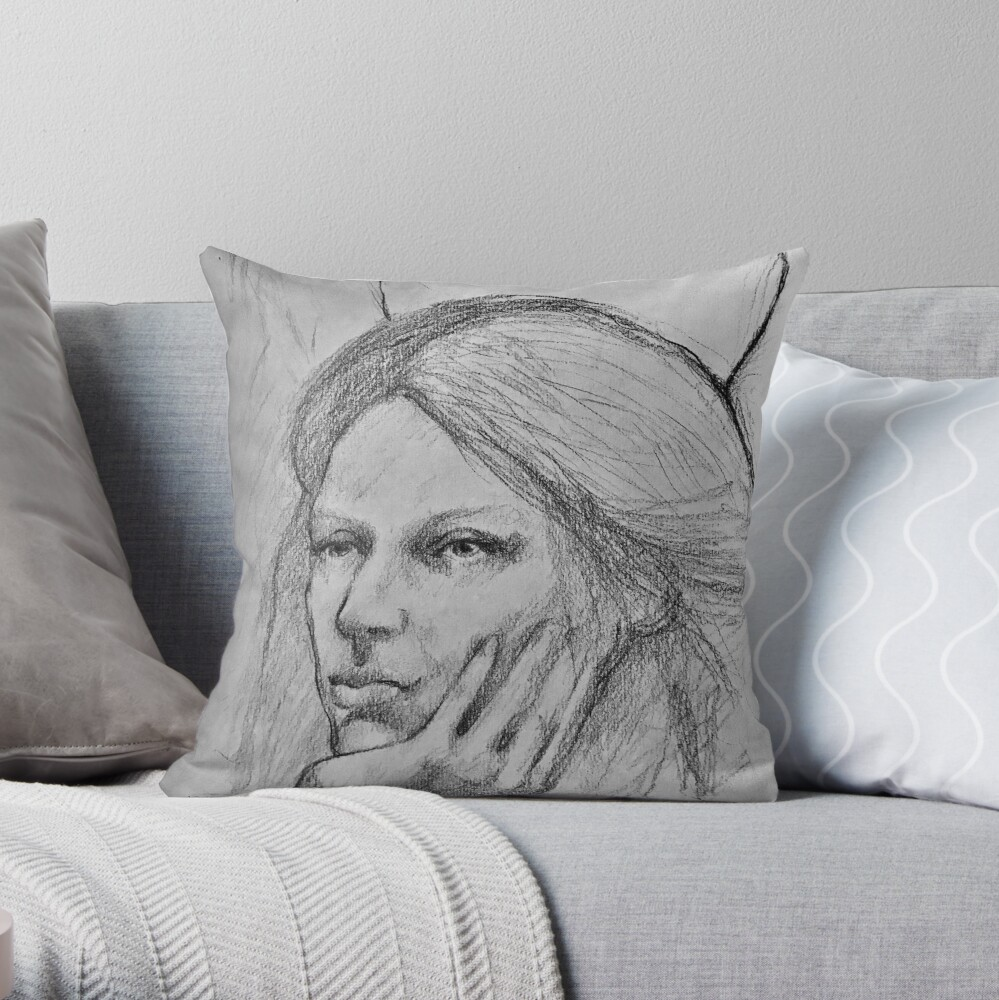 daydreaming angel Throw Pillow