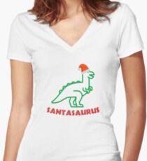 Santasaurus Rex Shirt Dinosaur Christmas Night Xmas Women's Fitted V-Neck T-Shirt