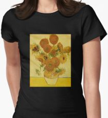 'Still Life with Sunflowers' by Vincent Van Gogh (Reproduction) Women's Fitted T-Shirt
