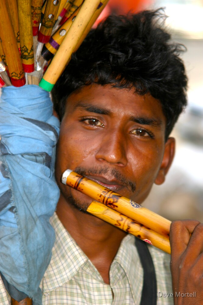 Flute Player - India by Dave Mortell