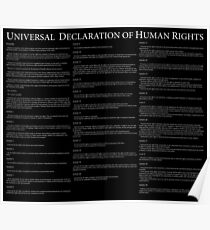Universal Declaration of Human Rights Black Background Poster