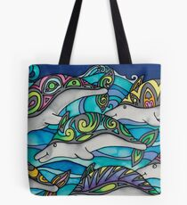 Hippie Dolphins Tote Bag