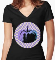 Psychedelic Pumpkin Women's Fitted V-Neck T-Shirt